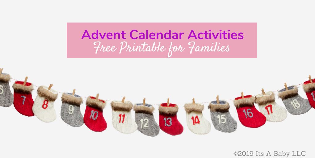 Free printable advent calendar activities