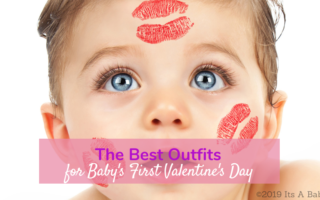 Baby with kisses on valentines day