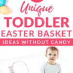 Toddler Sitting Next to Easter Basket
