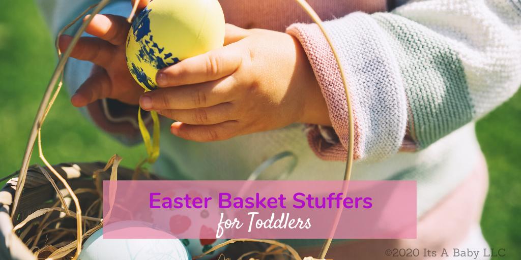toddler with easter basket