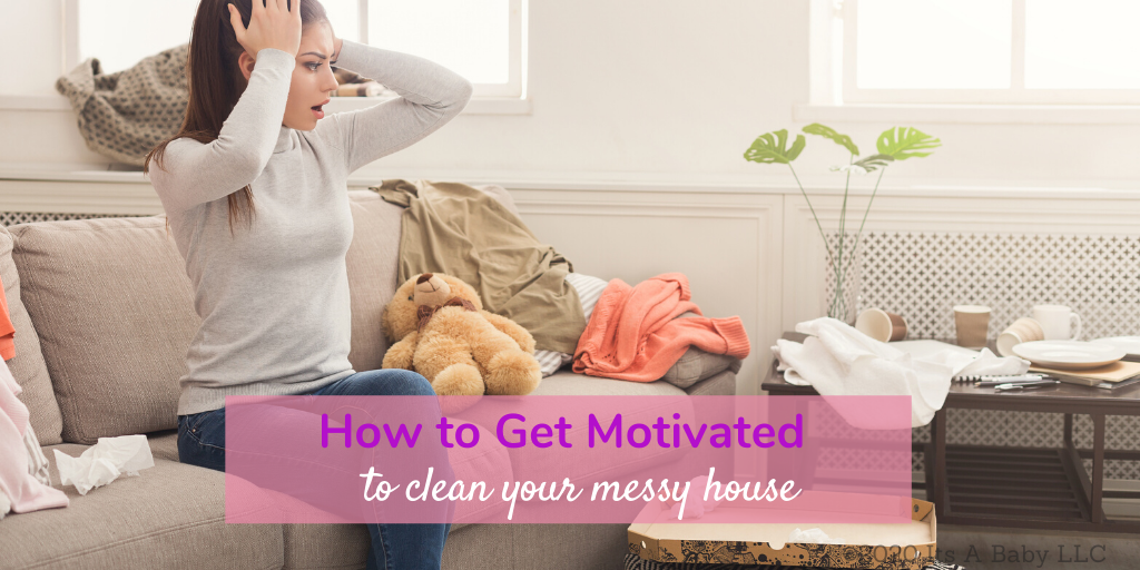 Woman overwhelmed by messy and lacking motivation to clean