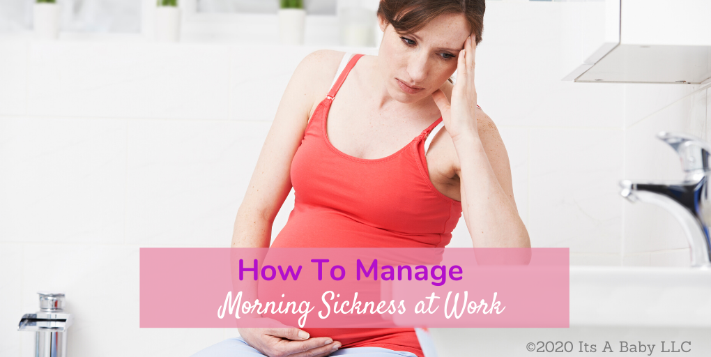 Pregnant woman learning how to deal with morning sickness at work