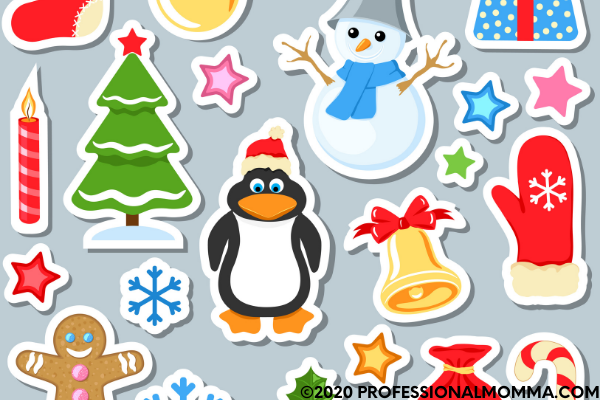 Christmas stickers for holiday decorating