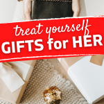 woman buying gifts to treat herself