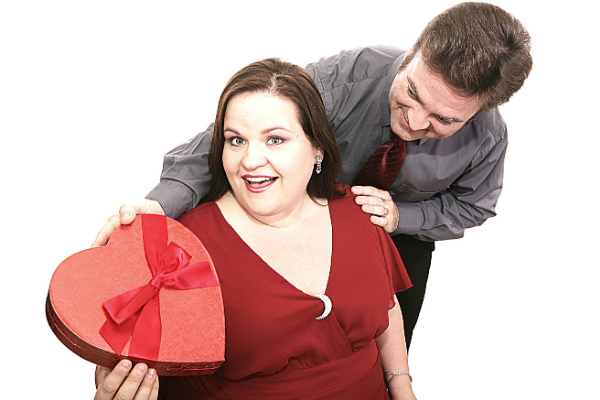 woman getting chocolate for valentine's day
